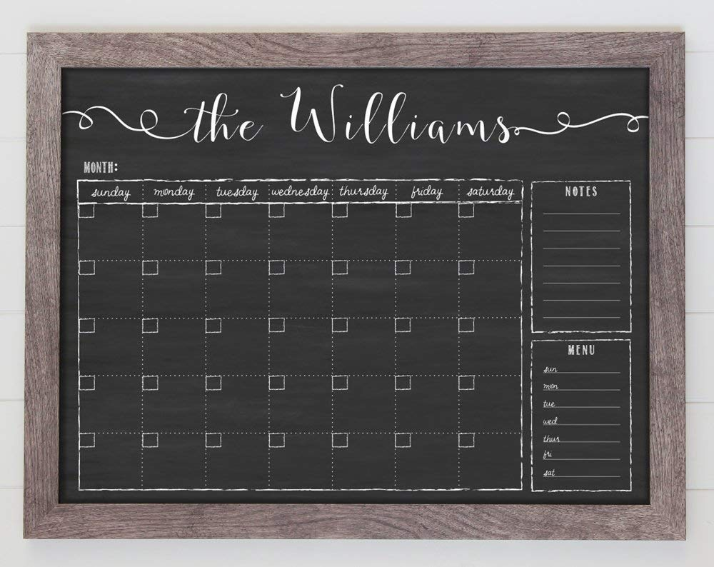 Chalkboard Calendar, 24x18 Horizontal Framed Dry Erase Calendar, Free Customization, Reusable 18x24 Customized Dry Erase Wall Calendar, Family Framed Calendar, perpetual calendar