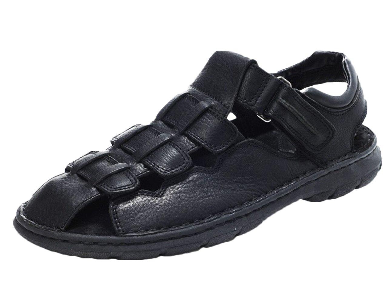 DQQ Hombres del Crazy Horse piel sandalias de pescador 41 1/3 EU|negro