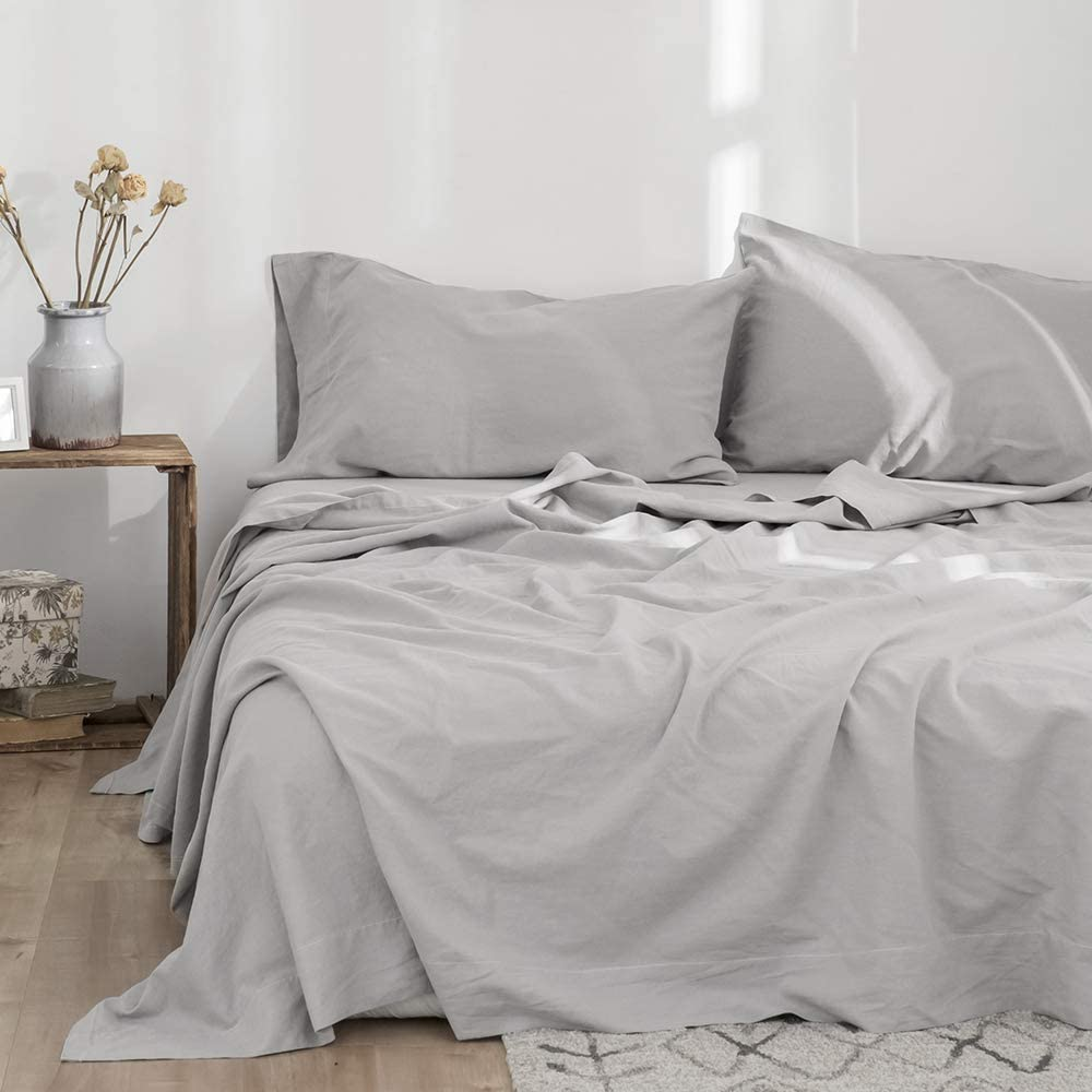 Simple&Opulence Belgian Linen Sheet Set Solid Color - 4 Pieces (1 Flat Sheet & 1 Fitted Sheet & 2 Pillowcases) Natural Flax Cotton Blend Soft Bedding Breathable Farmhouse - Grey, King Size