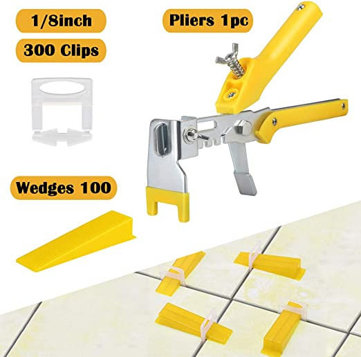 300 Kit Tile Leveling Spacer System Tool Clip Wedges Wall Flooring Level
