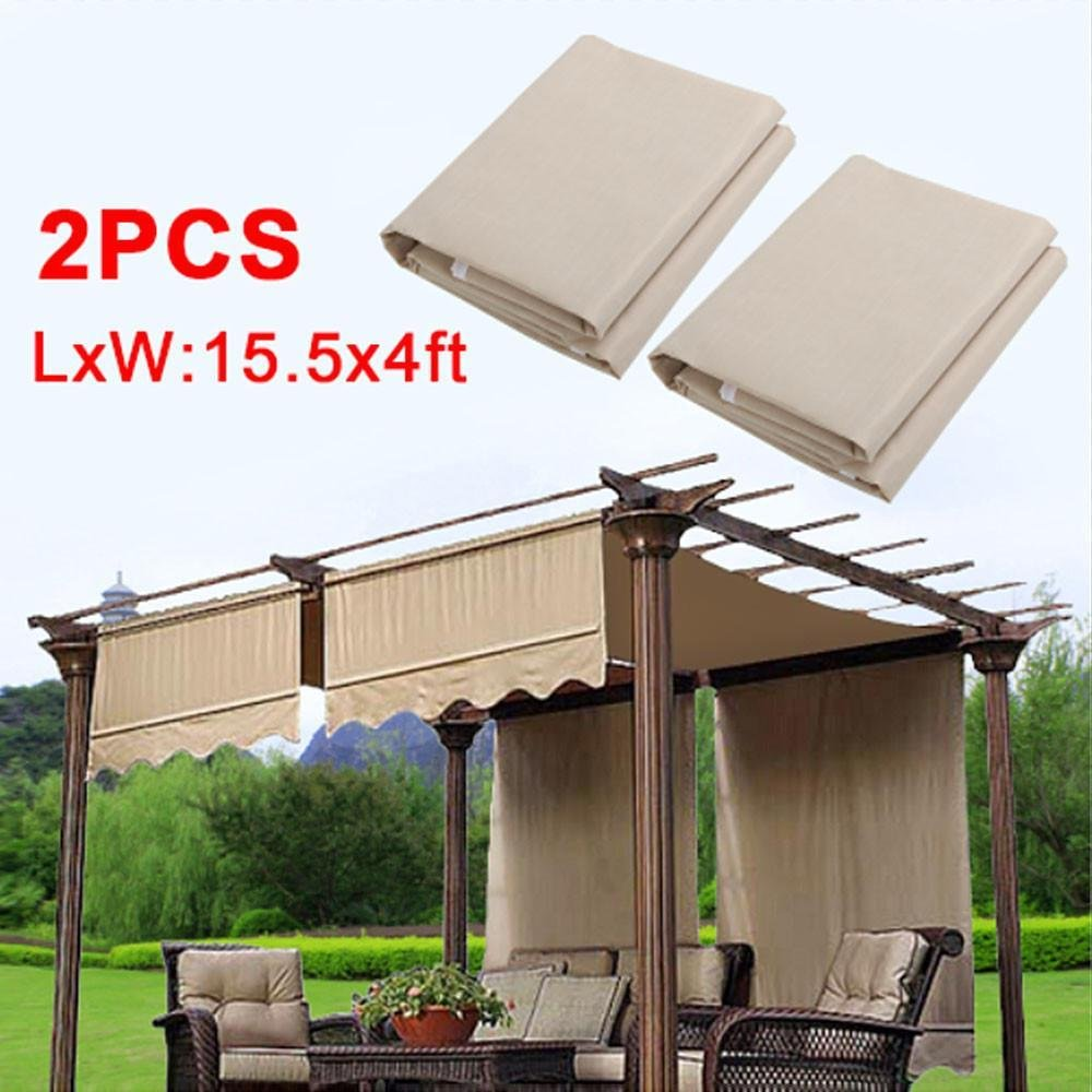 go2buy 2PCS Pergola Canopy Replacement Cover 200G w/Valance Beige
