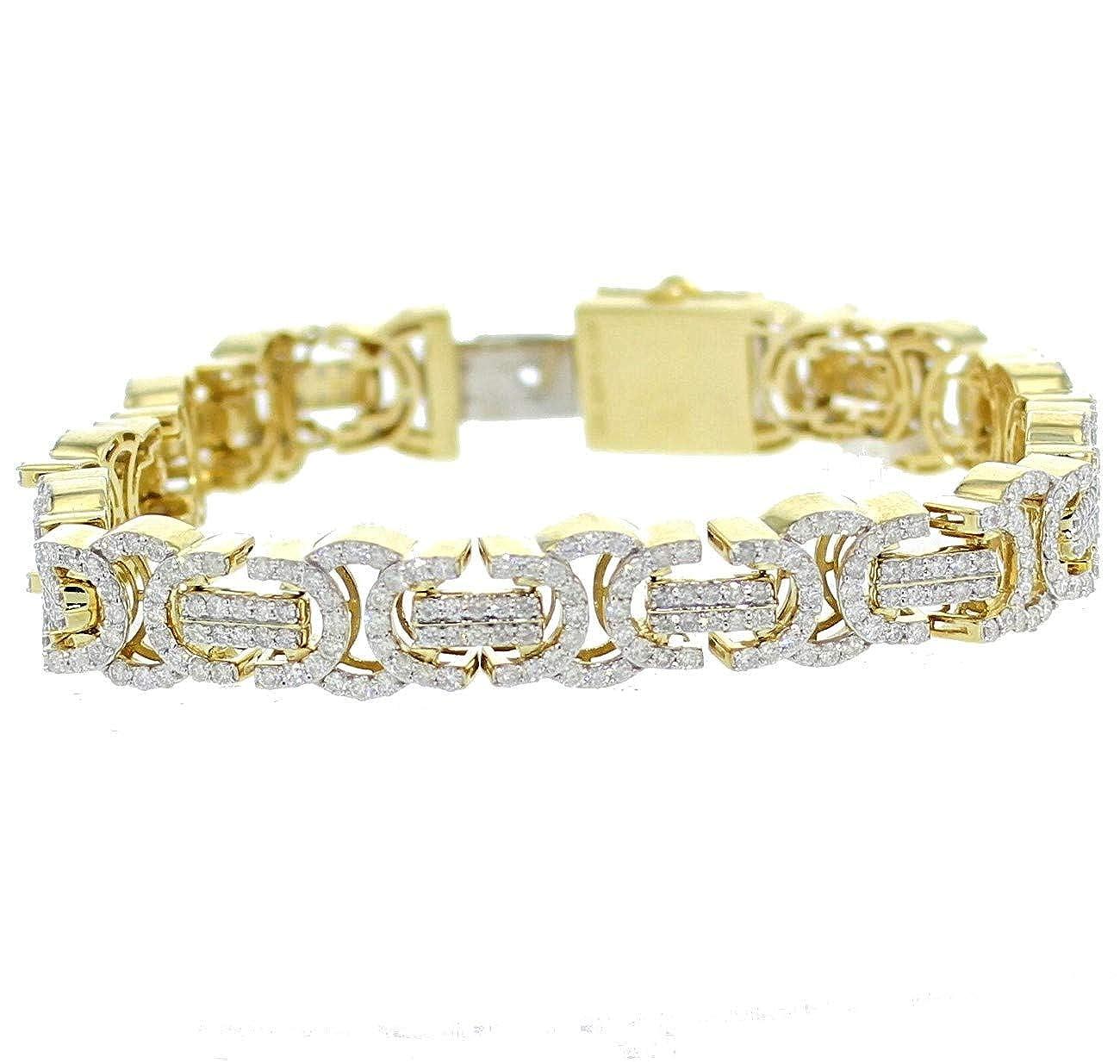 b368c2bb41b80 Amazon.com: Midwest Jewellery 10K Gold Diamond Bracelet Mens 11CTW ...