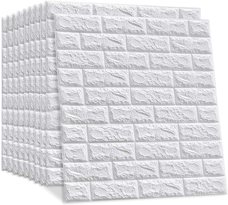 LEISIME 3D Wall Sticker Self-Adhesive Wall Panels Waterproof PE Foam White Wallpaper for Living Room TV Wall and Home Decor (Brick 20 Pack - 116 Sq Ft)