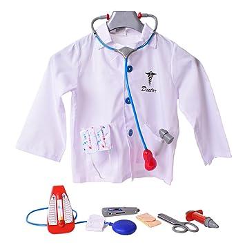Doktorset Bata De Doctor Abrigo Médico Doctor Accesorio 9 Piezas Estetoscopio Monitor De Presión Arterial: Amazon.es: Juguetes y juegos