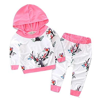 Baby Clothes Efaster Toddler Infant Girls Xmas Reindeer Pattern Hooded Top Pants