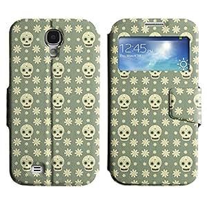LEOCASE Cráneo verde Funda Carcasa Cuero Tapa Case Para Samsung Galaxy S4 I9500 No.1002462