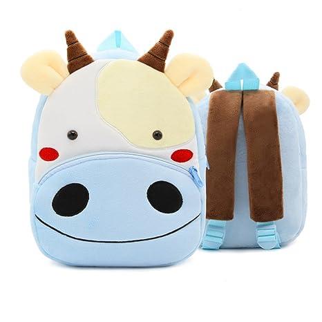 XLHMILY Mini dibujos animados 3D Mochila Infantiles Niños mochila animal Vacas unicornio mochila algodón de jardín