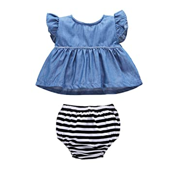 076af8189b762 Mornyray ベビー服 デニムワンピース ノースリーブ 袖なしドレス 女の子 赤ちゃん ショートパンツ 2点セット コットン