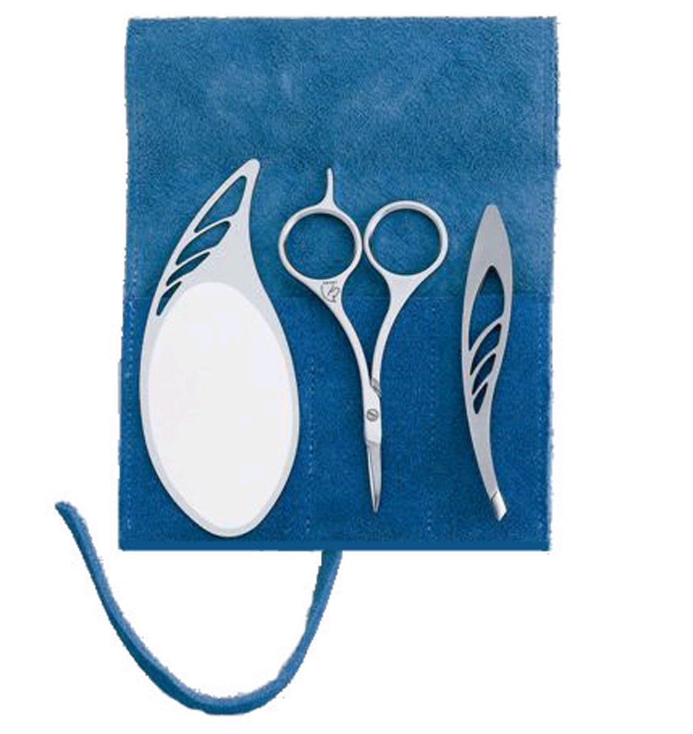 BoxCave MARUTO Eyebrow Grooming Set : Eyebrow Scissors Hair Brow Cutter SS-101 + Eyebrows tweezers TC-801 + Stainless Steel Small Personal Makeup Mirror MR-011 with BoxCave Microfiber Cleaning Cloth
