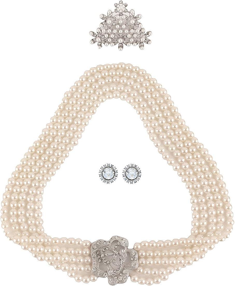 Utopiat Audrey Style Conjunto de 3 piezas de joyería de perlas para mujer inspirado en BAT's