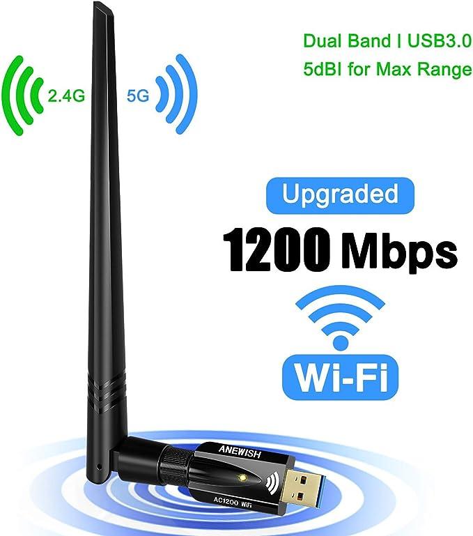 Amazon.com: Adaptador USB WiFi para PC 1200 Mbps de doble ...