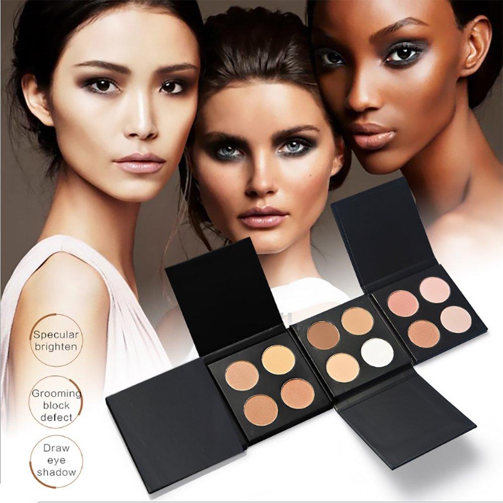 vinmax 4 Colors Pearl Powder Palette Cosmetics Cream Contour & Highlighting Makeup Kit-Matte,Pure,Vegan,Cruelty Free & Hypoallergenic- Ladies 0.5 Oz-3#