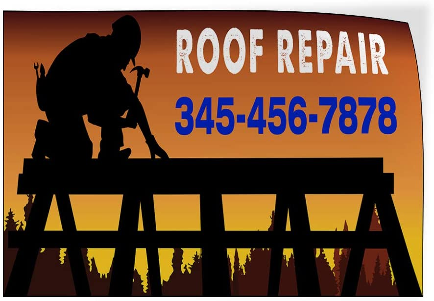 Custom Door Decals Vinyl Stickers Multiple Sizes Roof Repair Phone Number Repairman Business Roof Repair Outdoor Luggage /& Bumper Stickers for Cars Black 58X38Inches Set of 2