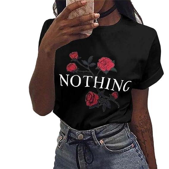 Yeamile💋💝 Camiseta de Mujer Tops Negro Blusa Causal Ocasionales Tops Sueltos Camiseta Rose Impresión de Verano Blusa de Manga Corta de Mujer (Rosa, ...