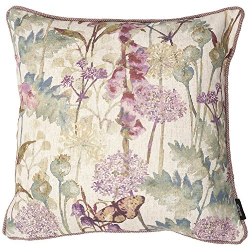 McAlister Pastel Wild Flower Decorative Pillow Cover Case | 16×16″ Purple | Vintage Linen Floral Shabby Chic Rustic Country Cabin Accent Decor