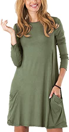 Women's Casual Pockets Plain Simple T-Shirt Tunic Loose Dress