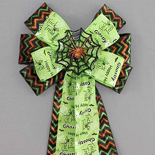 Trick or Treat Spider Chevron Halloween Wreath Bow - 9