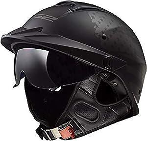 LS2 Helmets Rebellion Motorcycle Half Helmet (1812 Black Flag - Large)