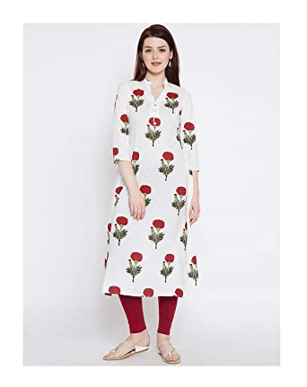 ece5927dddff9 Amazon.com: HIRAL DESIGNER MALL Long Kurti Indian Style Off-White ...