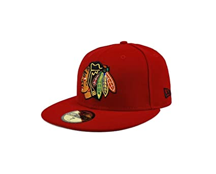9507e5f5848f99 Amazon.com : New Era Hat NHL Chicago Blackhawks Primary Red Cap ...