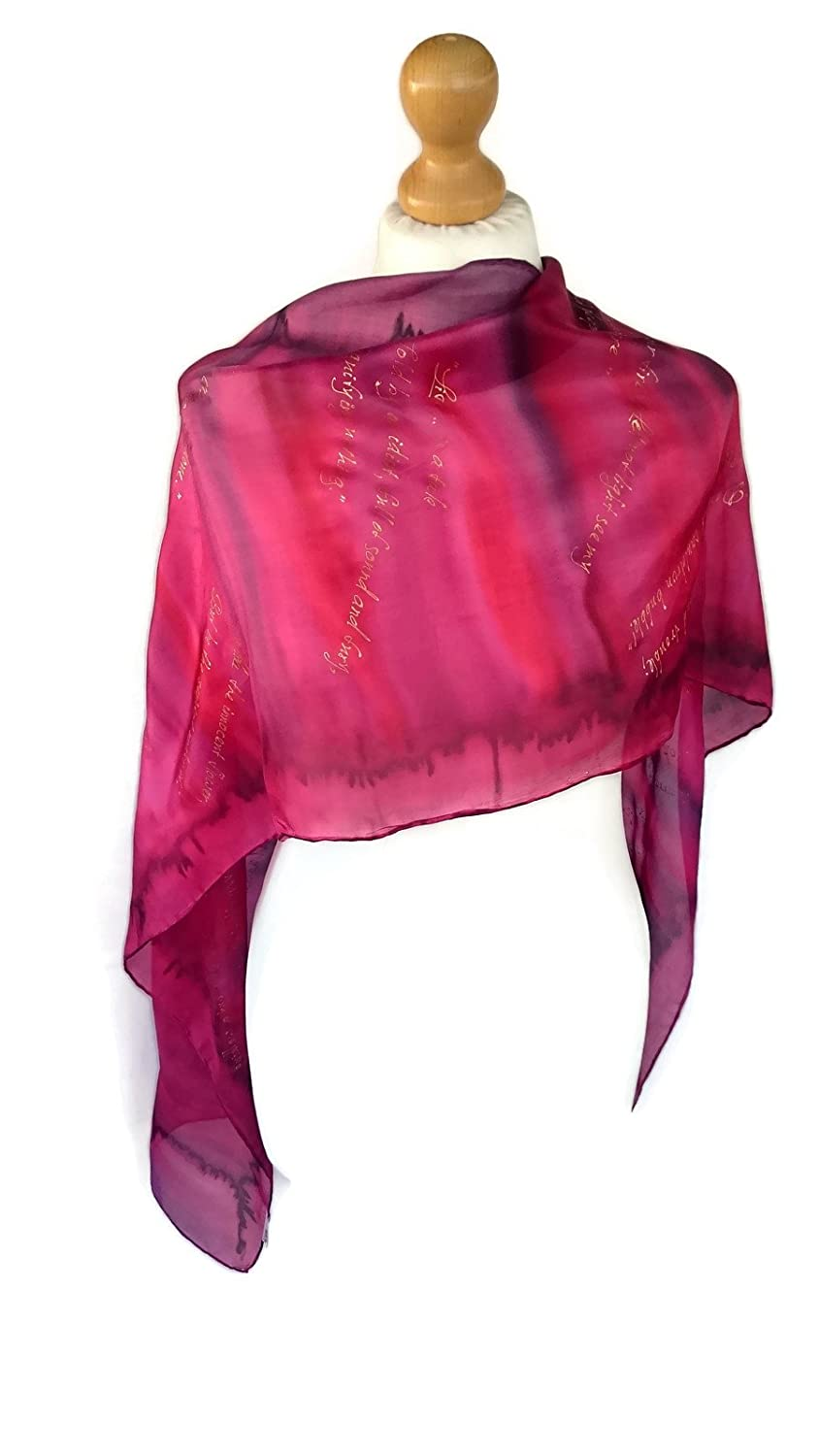 Shakespeare Hand Painted Pure Silk Unique Scarf Gift-wrapped, (Macbeth)