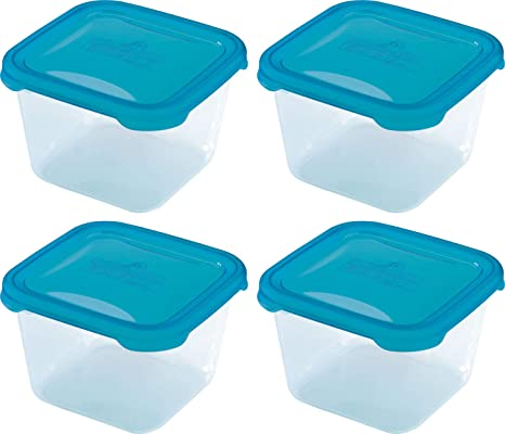 4 recipientes cuadrados de plástico para microondas ...