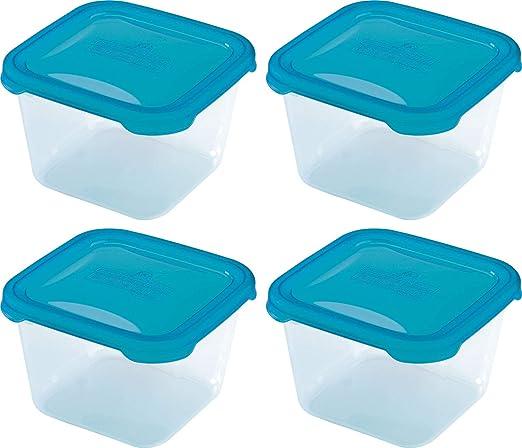 4 recipientes cuadrados de plástico para microondas, herméticos ...