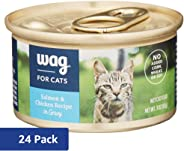 WAG Amazon Brand Wet Cat Food, Salmon & Chicken Recipe in Gravy, 3 oz Can (Pack of 24)