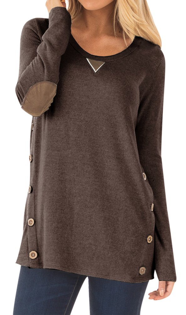 Women Round Neck Long Sleeve Cotton Blouse with Buttons Faux Suede Solid Color Casual Tunic Tops Coffee 2XL