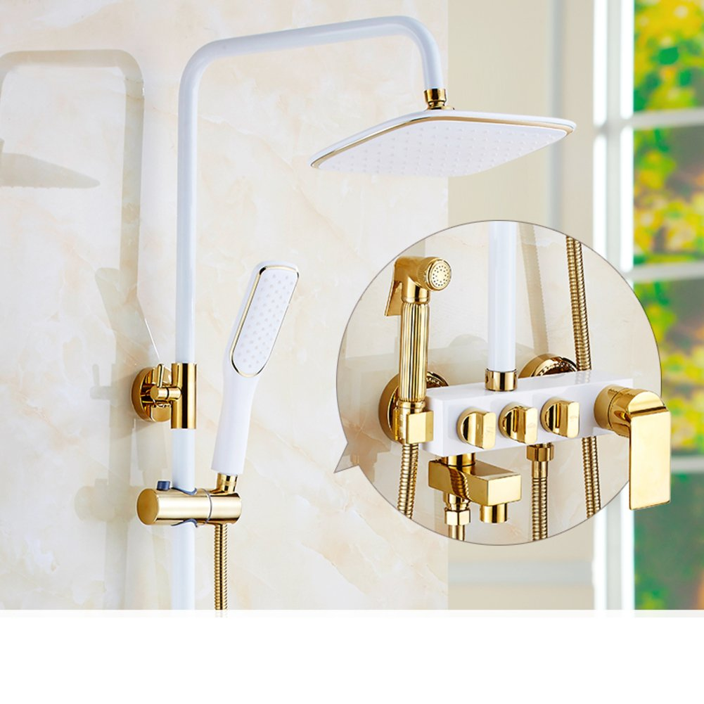 M Shower Set Wall Mount,Bronze,Household Use, Rain Bidet Faucet And Three-way Angular Valve European-style Showers-C