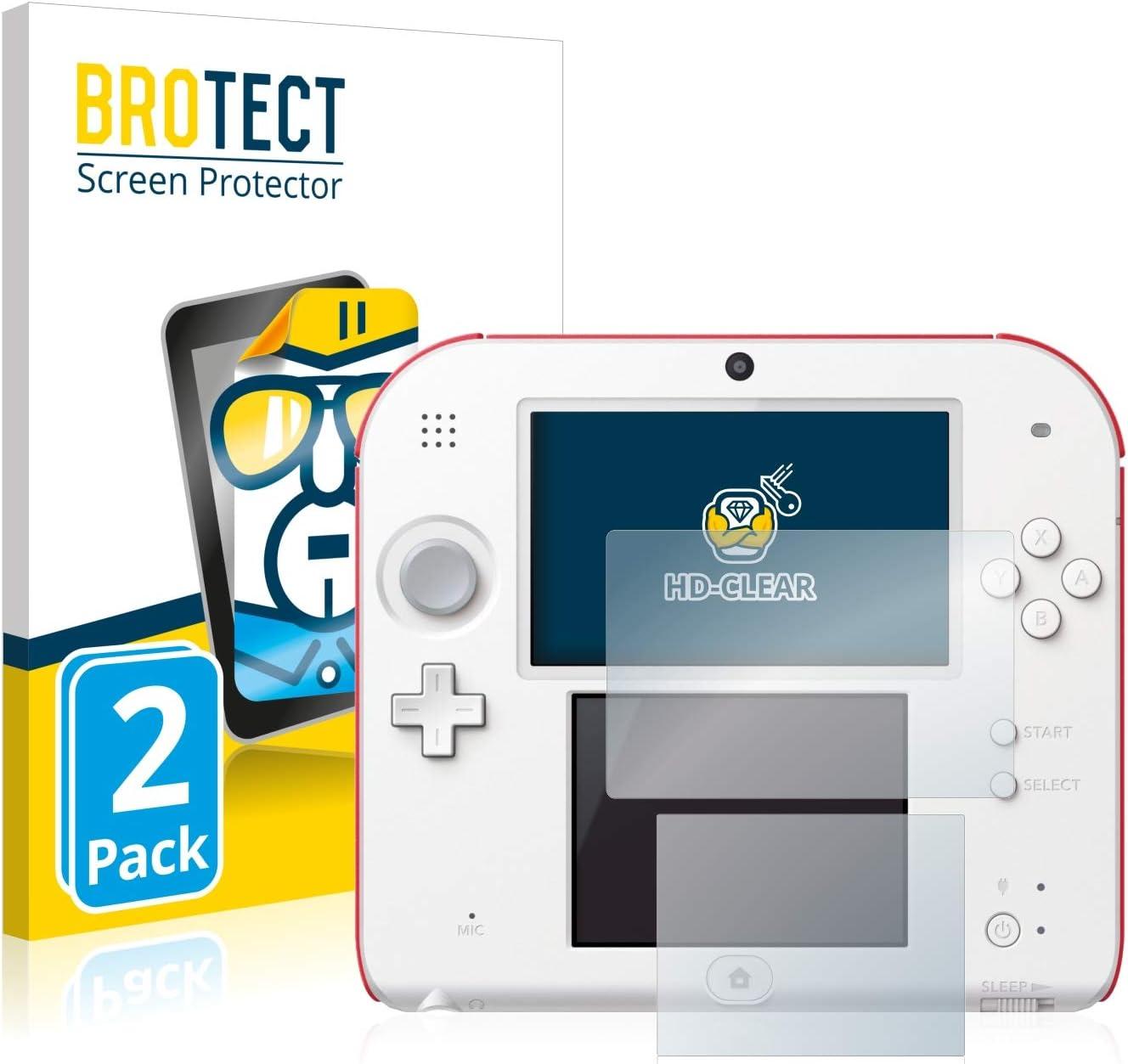 BROTECT Protector Pantalla Compatible con Nintendo 2DS Protector Transparente (2 Unidades) Anti-Huellas