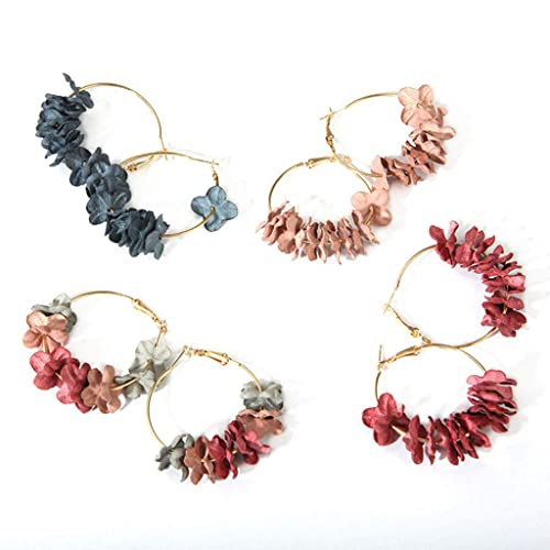 SMUOBT Gifts 4Pairs Handmade Multi Color Flower with Yellow Gold Plated Dangle Drop Statement Earrings for Women Girls