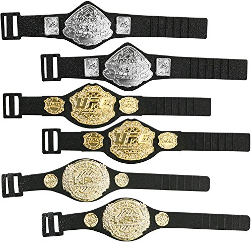 UFC Set of 6 Championship Action Figure Belts: 2, 2 Pride, & 2 WEC Action Figure Belts by Jakks