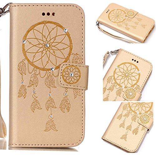 Funda Galaxy S6 Edge, Carcasa Plegable para Galaxy S6 Edge, Funda de piel Galaxy S6 Edge, Lifetrut Sólido Shiny Sparkle libro de estilo funda de cuero con ranura para tarjetas de cierre magnético sopo E206-Dream Catcher in Gold