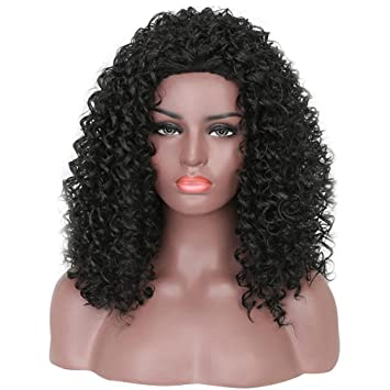 Huphoon Wigs Fashion Adjustable Color Changing Glueless Short Curly Fluffy Synthetic False Human Hair (D