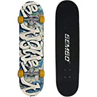 Gemgo 9 Plies Skateboard Deck, Adults Kids Skateboard,Complete Board with ABEC-7 Bearing 9-Layer 80A Maple Deck Sturdy Skateboarding with Doodle Pattern for Beginners and Professionals