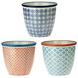 Nicola Spring Patterned Plant Pot. Porcelain Indoor/Outdoor Flower Pot - 3 Individual Designs - Box of 3