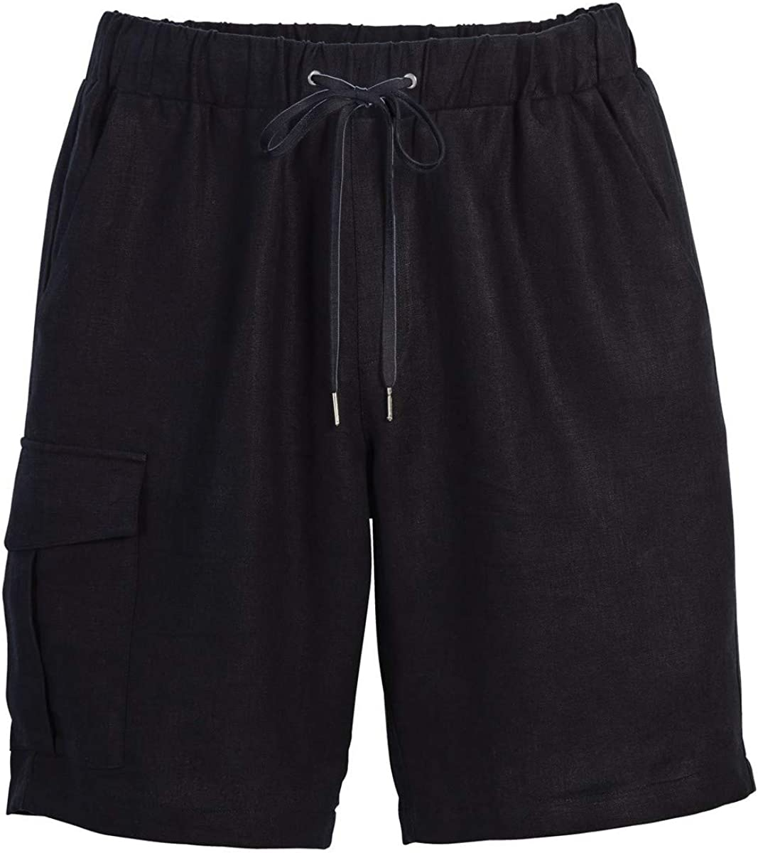 Beachcombers Mens Linen Cargo Shorts With an Elastic Waistband Black Large