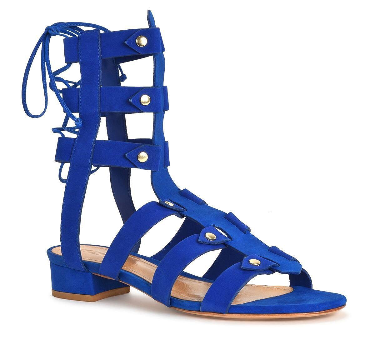 82af7cc46fe Amazon.com  SCHUTZ Women s Rae Klein Cobalt Royal Blue Studded Flat Tie  Back Gladiator Dress Sandal  Shoes