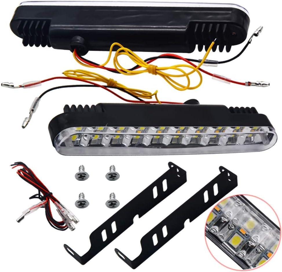 ManTou01 2pcs White//Yellow 30 LED Car Daytime Running Light DRL Daylight Lamp With Turn Strobe Lights Auto Parking Driving Lamp 12V Turn Signal Fog Lamp