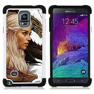 """Samsung Galaxy Note 4 IV / SM-N910 - 3 en 1 impreso colorido de Altas Prestaciones PC Funda chaqueta Negro cubierta gel silicona suave (Targaryen dragón Madre"""")"""