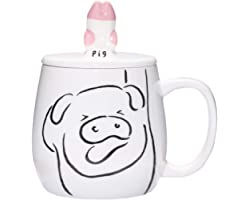 Cute Pig Ceramic Coffee Mug 16 oz Tea Cup Funny Pig Paw Mug with Lid for Cell Phone Holder