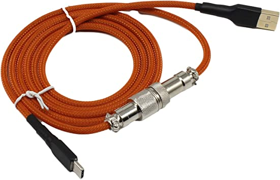 Amazon Com Geekbro Type C Usb Cable For Mechanical Keyboard Coated Aviator Connector 1 5m Length Durable Nylon Braided Cord Orange Computers Accessories