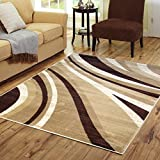 Adgo Atlantic Collection Modern Abstract Geometric Soft Pile Contemporary Carpet Thick Plush Stain Fade Resistant Easy Clean Bedroom Living Room Floor Rug (3'3″ x 4'7″, 6319A – Ivory Beige Tan Brown) Review