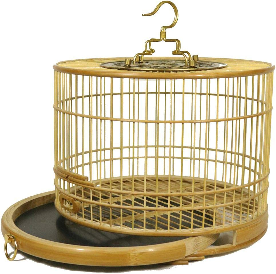 Pequeño Jaula De Pájaros De Bambú Jaula Metálica para Mascota Aves Loros Canarios