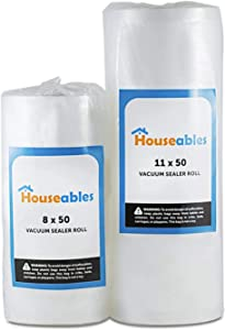 Houseables Vacuum Sealer Rolls, Sous Vide Bags, Large, 8 Inch x 50 Ft, 11 Inch x 50 Ft, Commercial Grade Plastic, Food Vac Storage & Seal, Airtight Vacume Saver, Microwave & Freezer Safe, Store A Meal