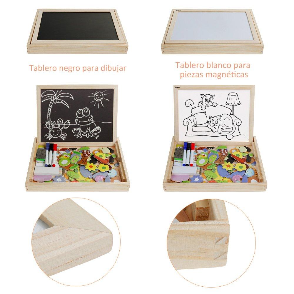Anpro110 Piezas Rompecabezas magnéticos Juguetes Educativo de Madera para niños de 3 a 8 años con 3 Piezas de Pinceles y 3 Piezas de Tiza