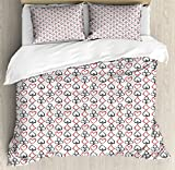 Poker King Size Duvet Cover Set by Lunarable, Hand Drawn Doodle Style Card Symbols Traditional Gambling Motifs Circles Hearts, Decorative 3 Piece Bedding Set with 2 Pillow Shams, Red Black White