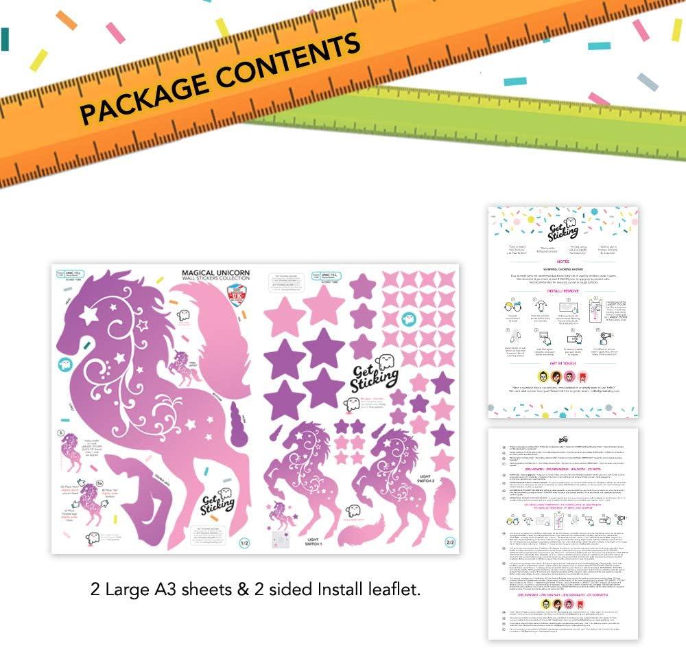 Multicolor Multicolor Large GET STICKING D/ÉCOR Adhesivos Decorativos para Pared dise/ño de Unicornio y Caballo