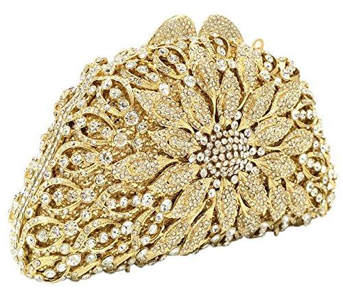 Clutch Sac Bourse Fête Maquillage soiree Mariage pour Bandouliere Fleur gold à Femme Sac Bal Chaîne Main Pochette SdqgwP